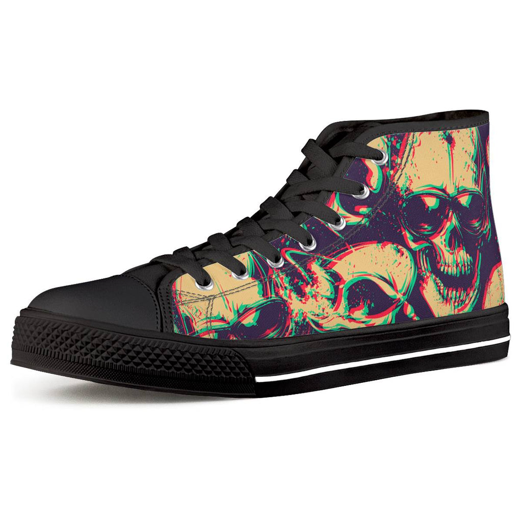 Glasses Skull Black High Top Canvas Shoes