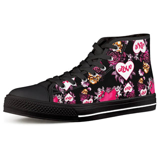 Garden of Love - Black High Top Canvas Shoes