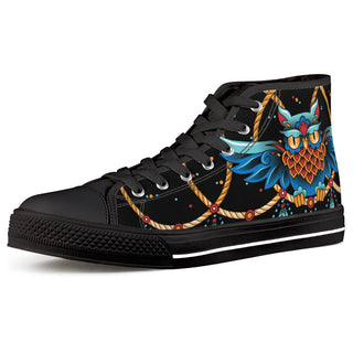 Dream Catcher - Black High Top Canvas Shoes