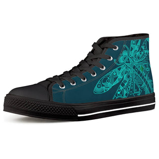 Dragonfly - Black High Top Canvas Shoes