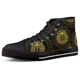 Golden Lion - Black High Top Canvas Shoes