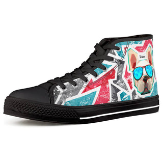 Bulldog Black High Top Canvas Shoes