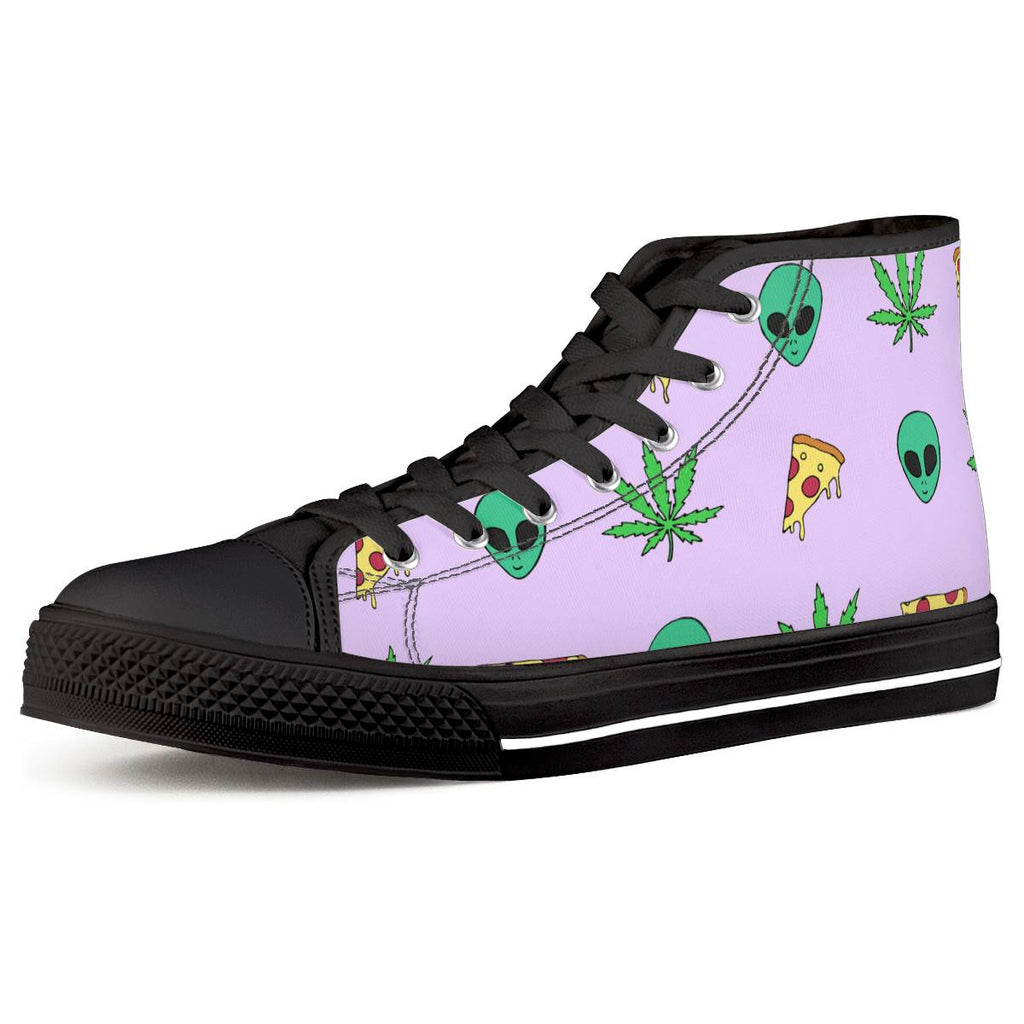 Alien Pizza Weed - Black High Top Canvas Shoes