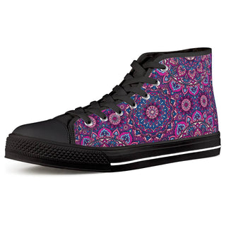 Garden Goddess - Black High Top Canvas Shoes
