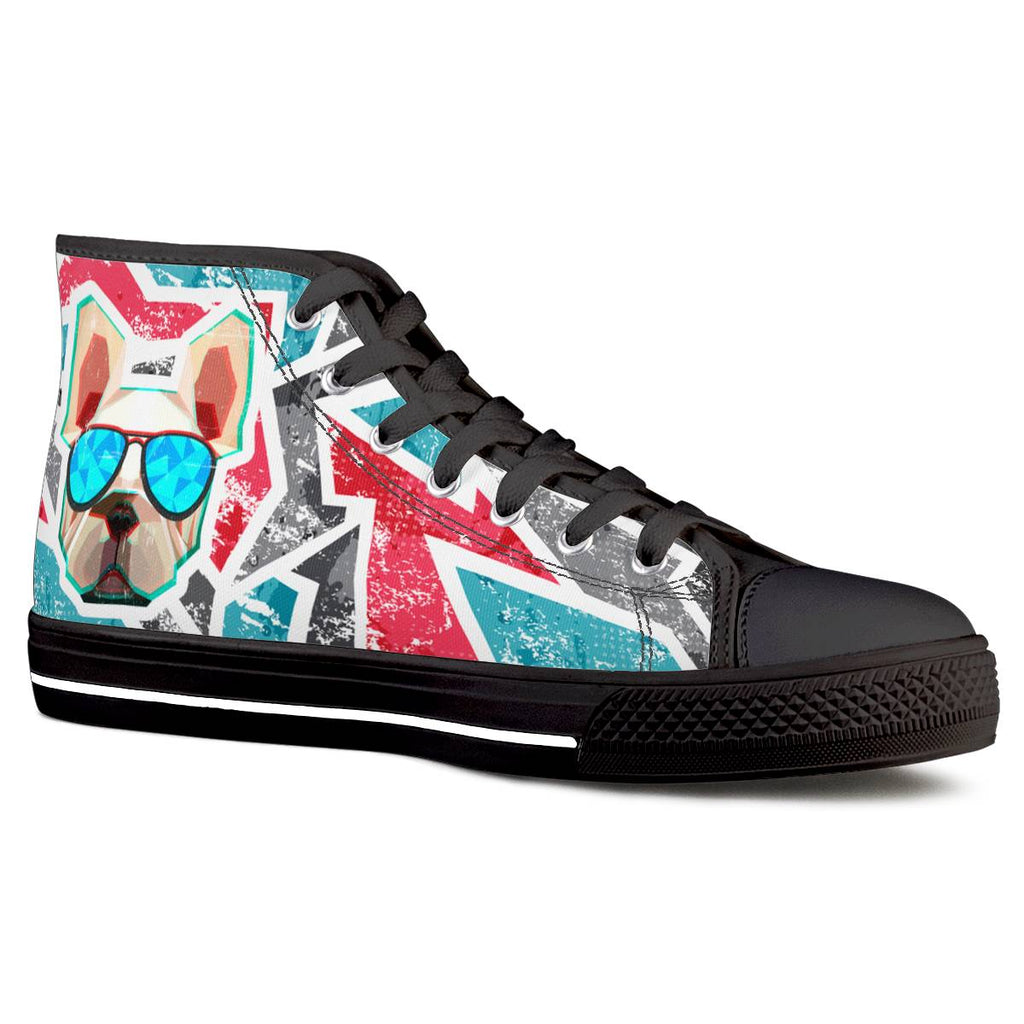 Dog Save The Queen - Black High Top Canvas Shoes