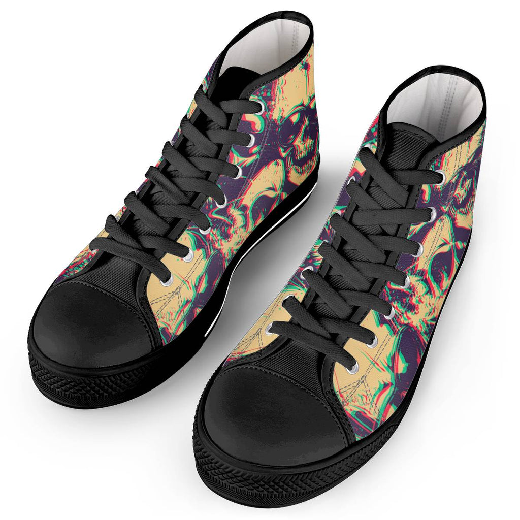 Shade of Death - Black High Top Canvas Shoes