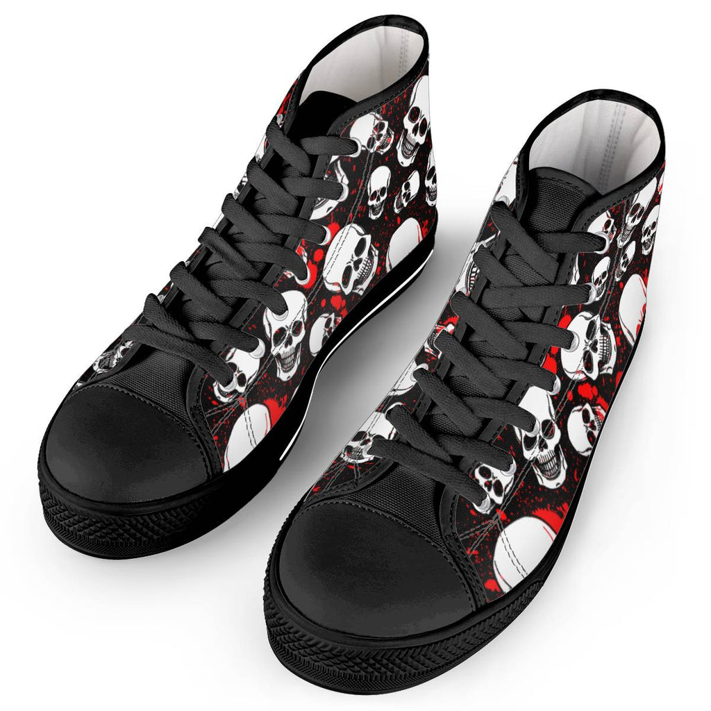 Bloody Bones - Black High Top Canvas Shoes