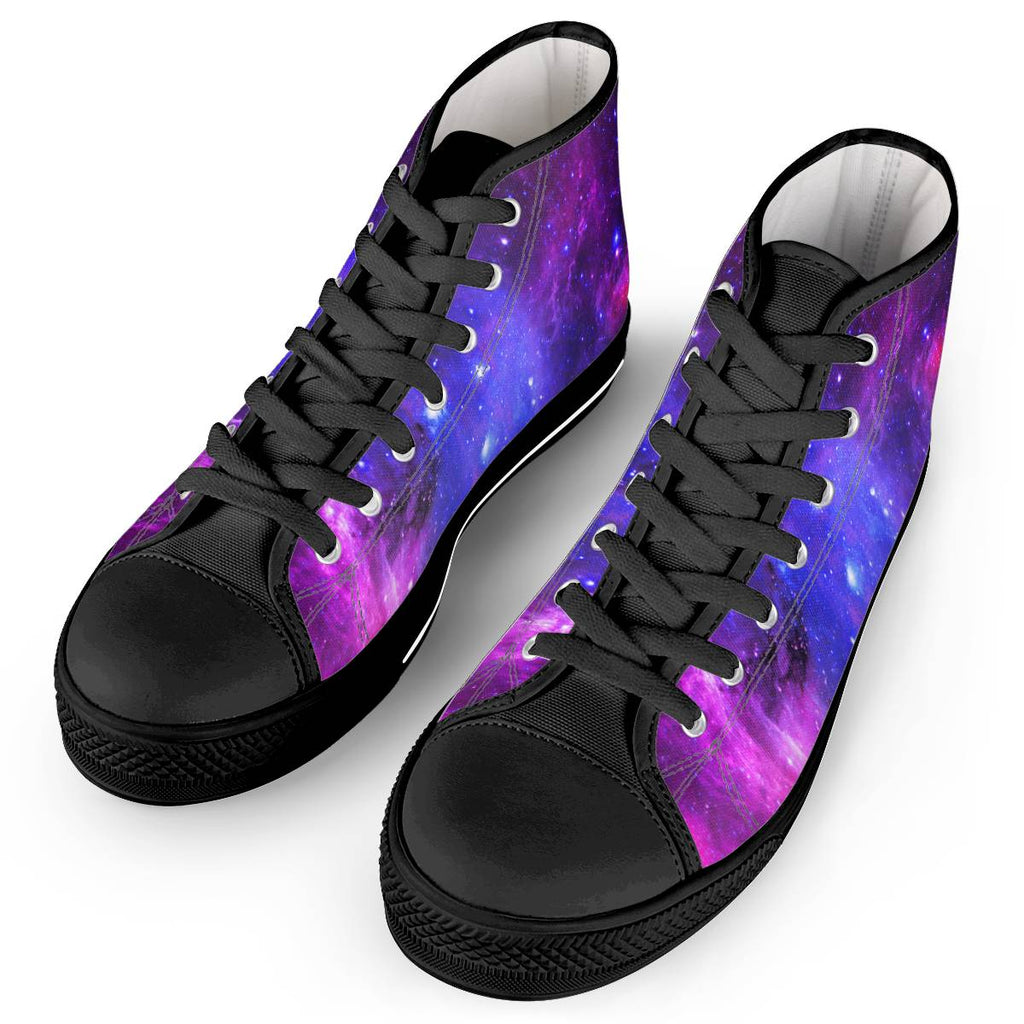 Pink Galaxy - Black High Top Canvas Shoes
