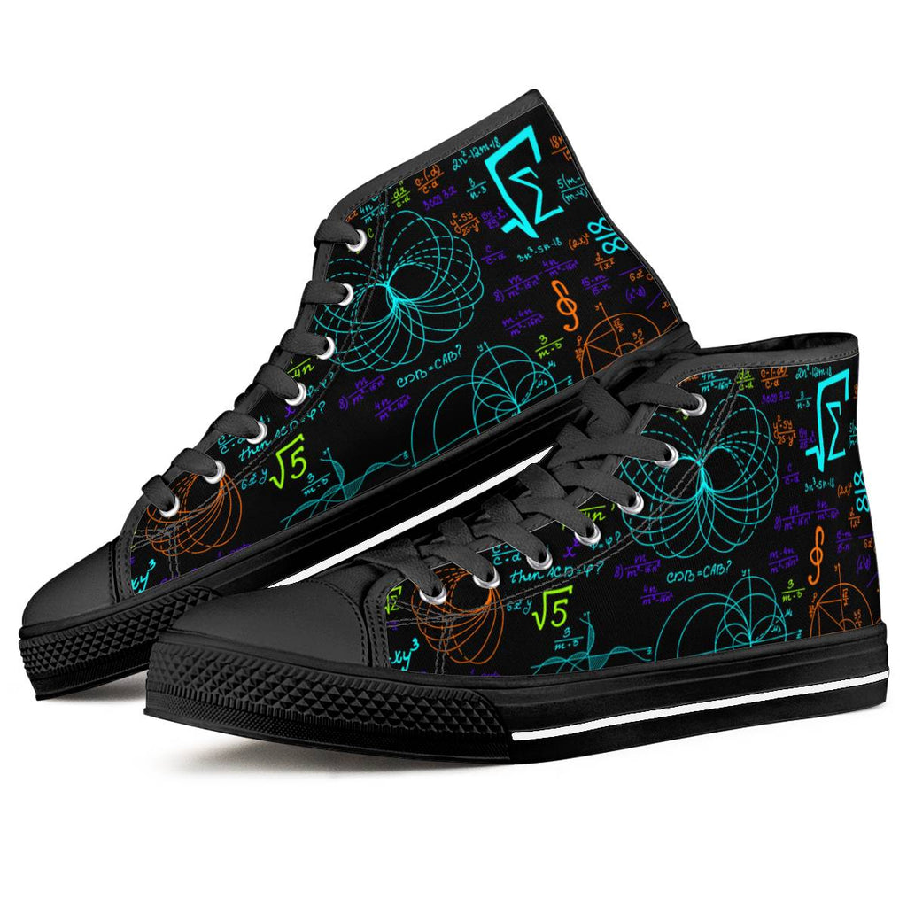 Math Formula - Black High Top Canvas Shoes