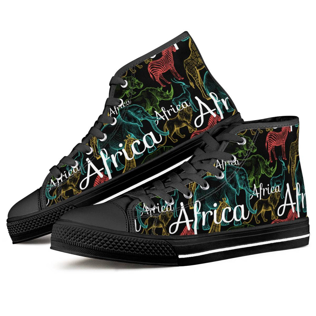 African Safari - Black High Top Canvas Shoes