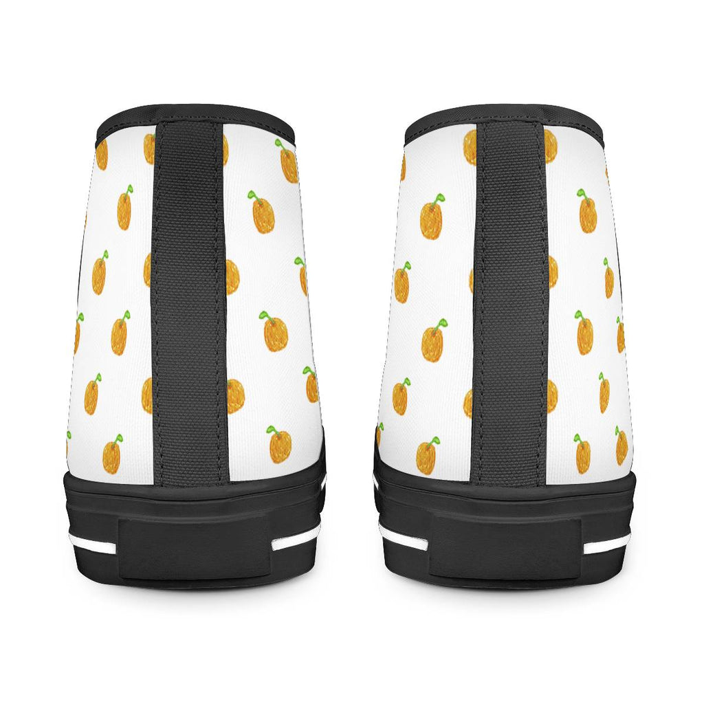 Orange Cartoon -  Drawing Pattern Design Black High Top Canvas Shoes