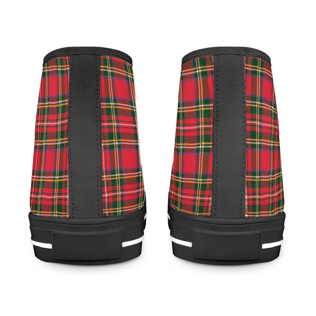 Red Plaid - Black High Top Canvas Shoes