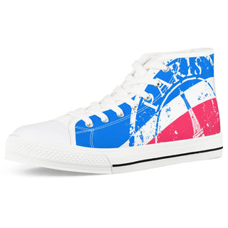 Eiffel Tower - White High Top Canvas Shoes