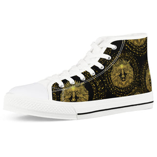 Golden Lion - White High Top Canvas Shoes