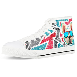 Bulldog White High Top Canvas Shoes