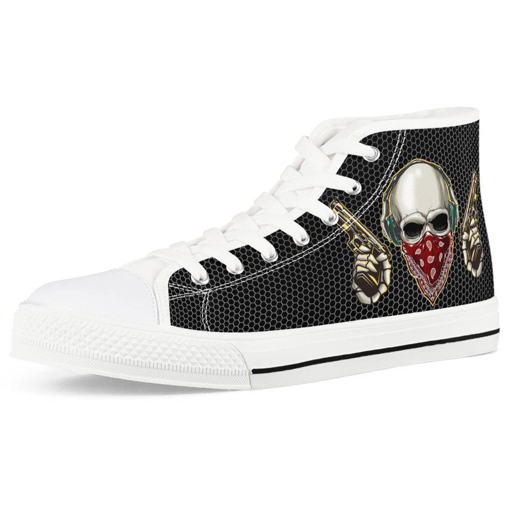 skull White High Top Canvas Shoes