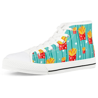 French fries White High Top Canvas Shoes