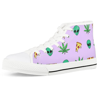 Alien Pizza Weed - White High Top Canvas Shoes