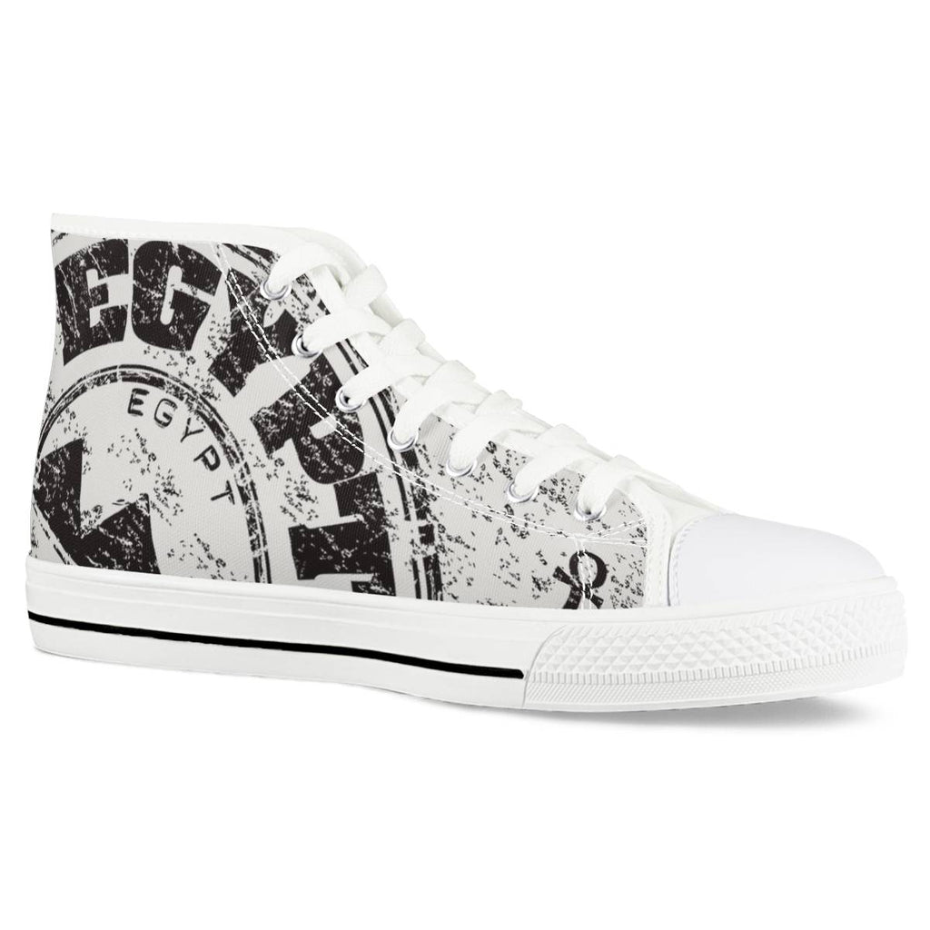 Pyramids of Giza - White High Top Canvas Shoes