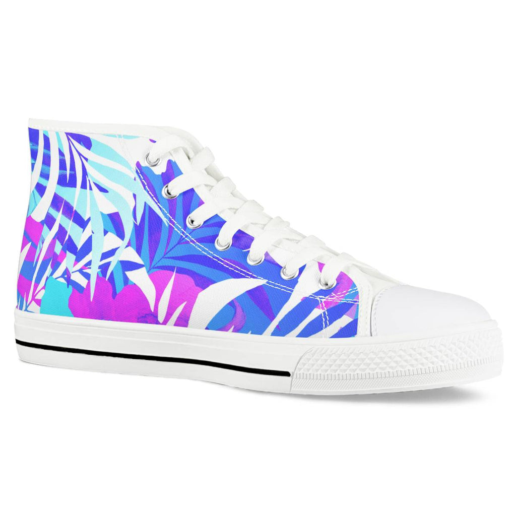 Summer Vibes - White High Top Canvas Shoes