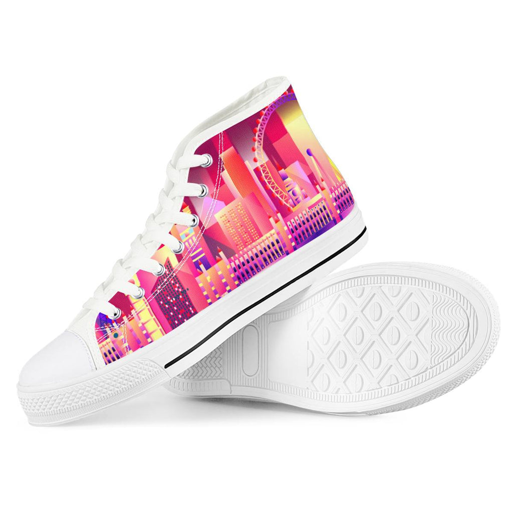 London Eye - White High Top Canvas Shoes