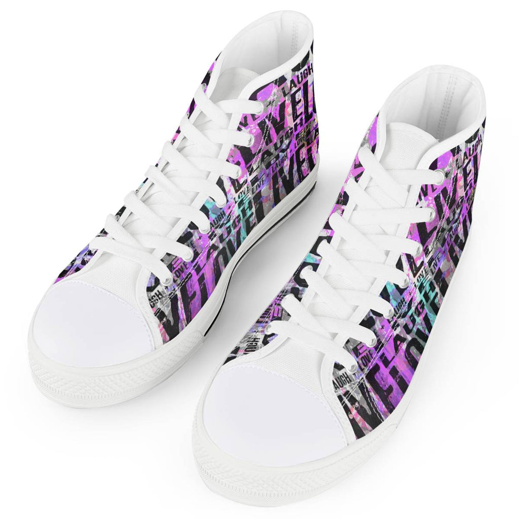 Secret of Life - White High Top Canvas Shoes