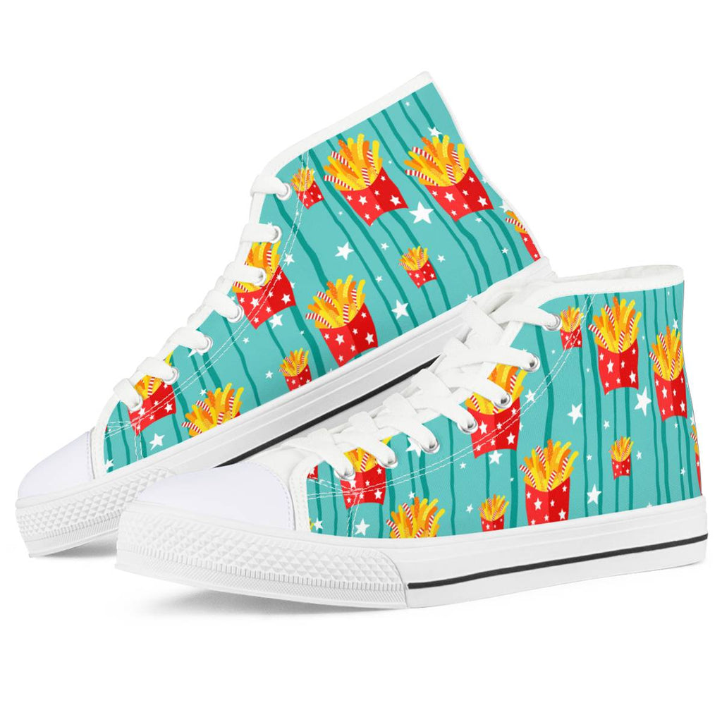 Freedom Fries - White High Top Canvas Shoes