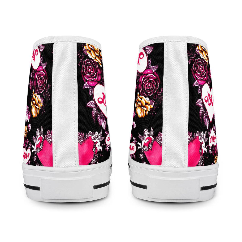 Garden of Love - White High Top Canvas Shoes