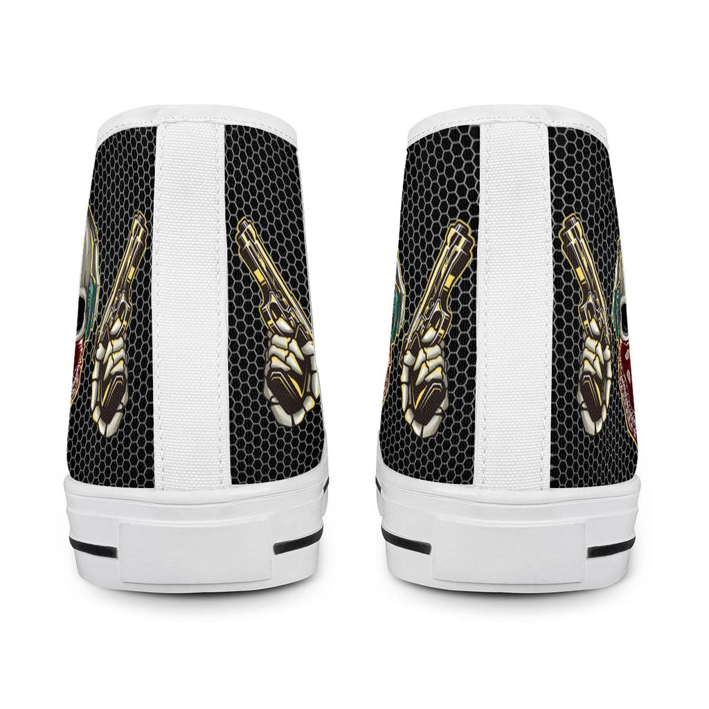 Western Skull - White High Top Canvas Shoes