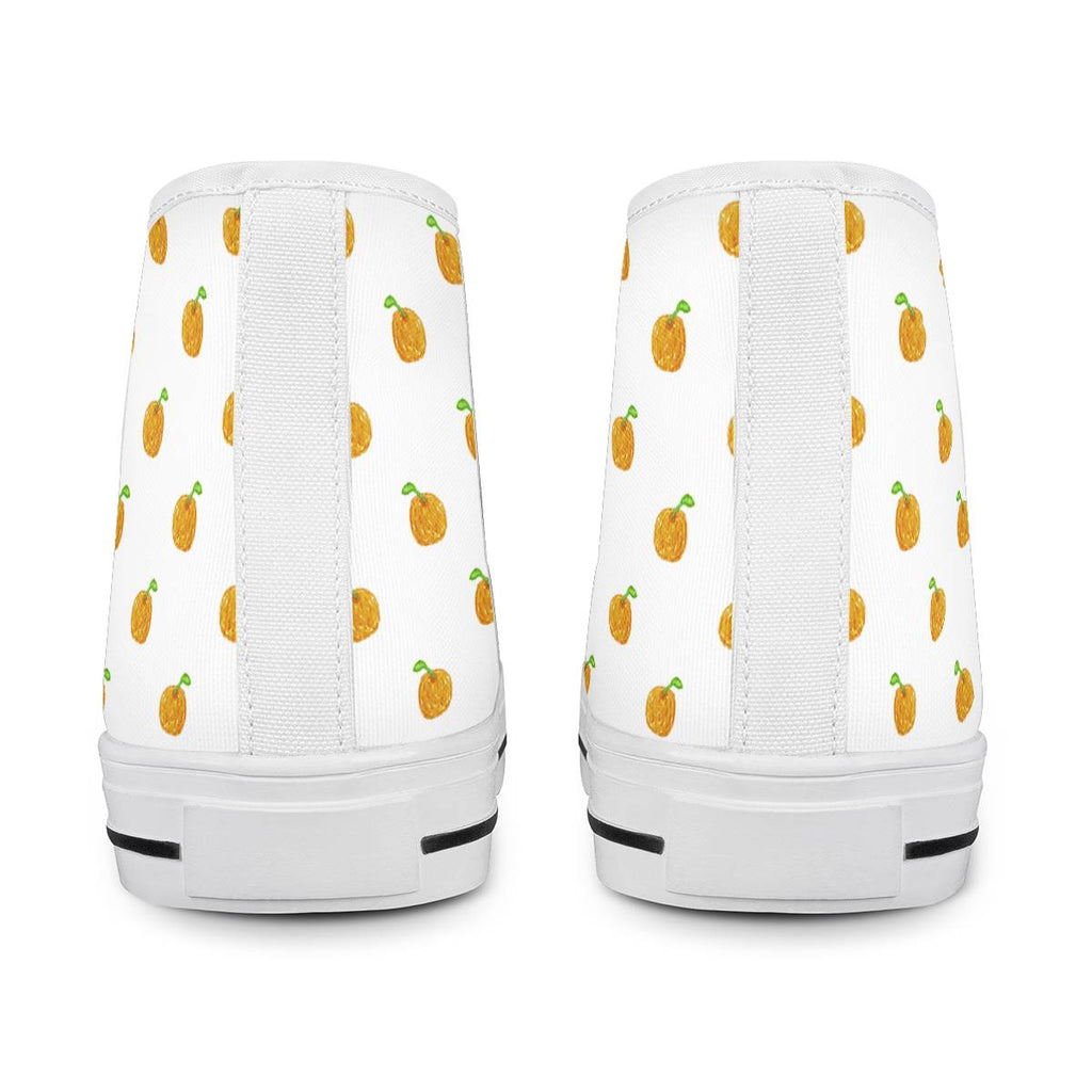 Orange Cartoon -  Drawing Pattern Design White High Top Canvas Shoes