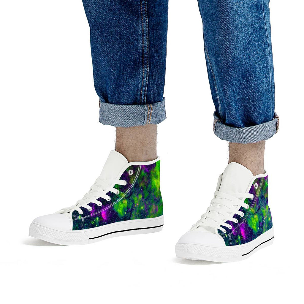 Green Galaxy - White High Top Canvas Shoes