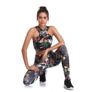 Yoga Set Black Floral