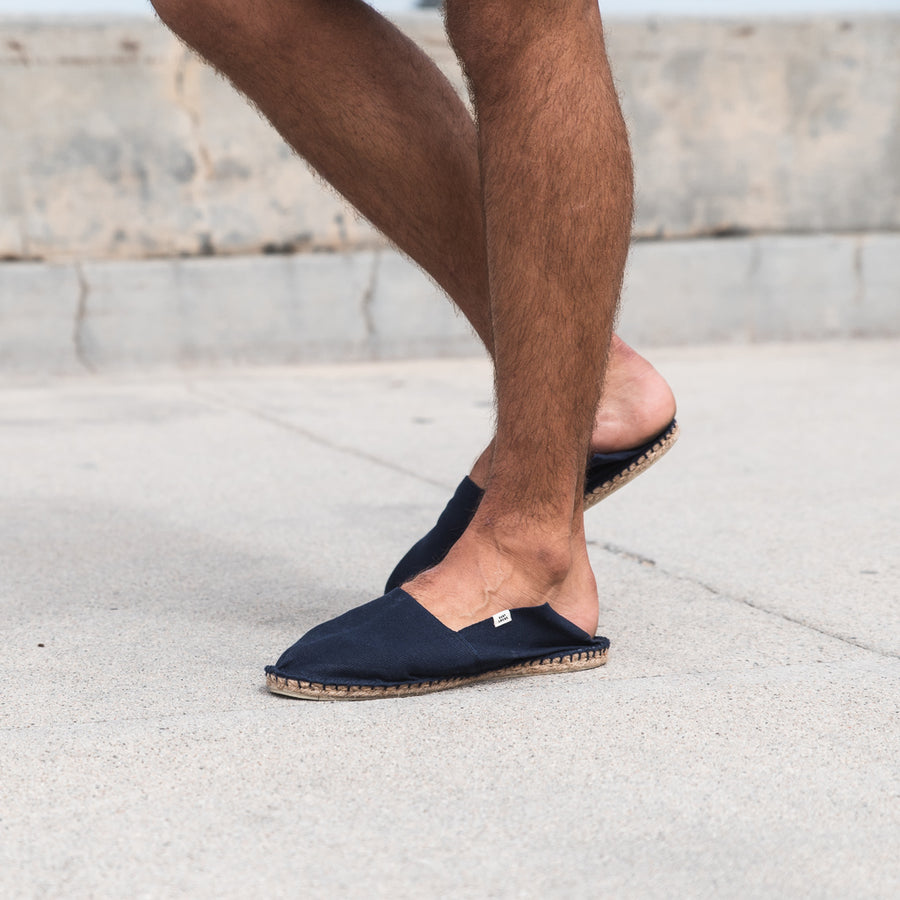 mens navy blue slip on espadrilles