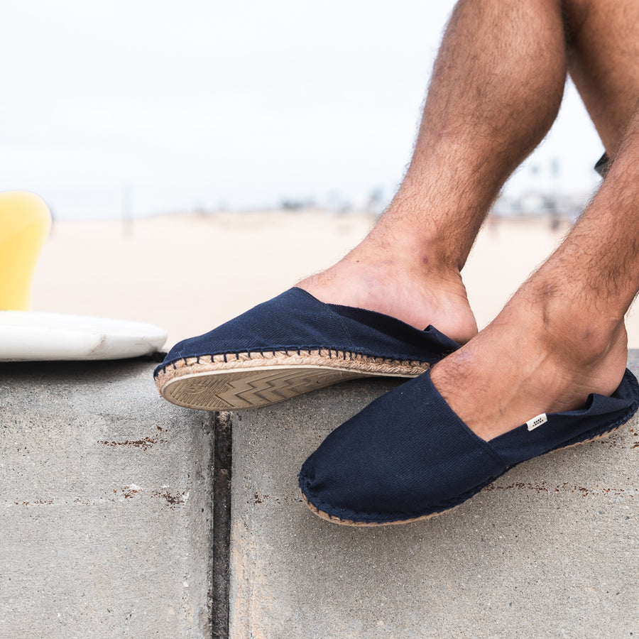 mens espadrilles slip on shoes navy blue