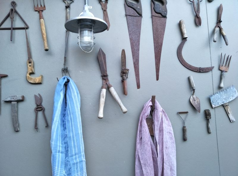 Rustic Steel Garden Tool Feature Wall