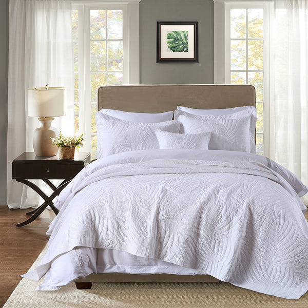 Nadia 100% Cotton Coverlet Bedspread Bedcover Set - White
