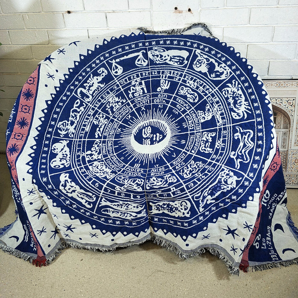 Woven Tapestry Picnic Rug Beach Blanket Lounger Cover Throw- Astrology Charms