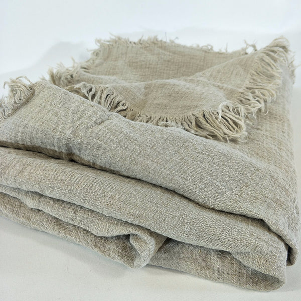 Versailles French Linen Heavy Weight Pure Linen Throw Fringe- Flax