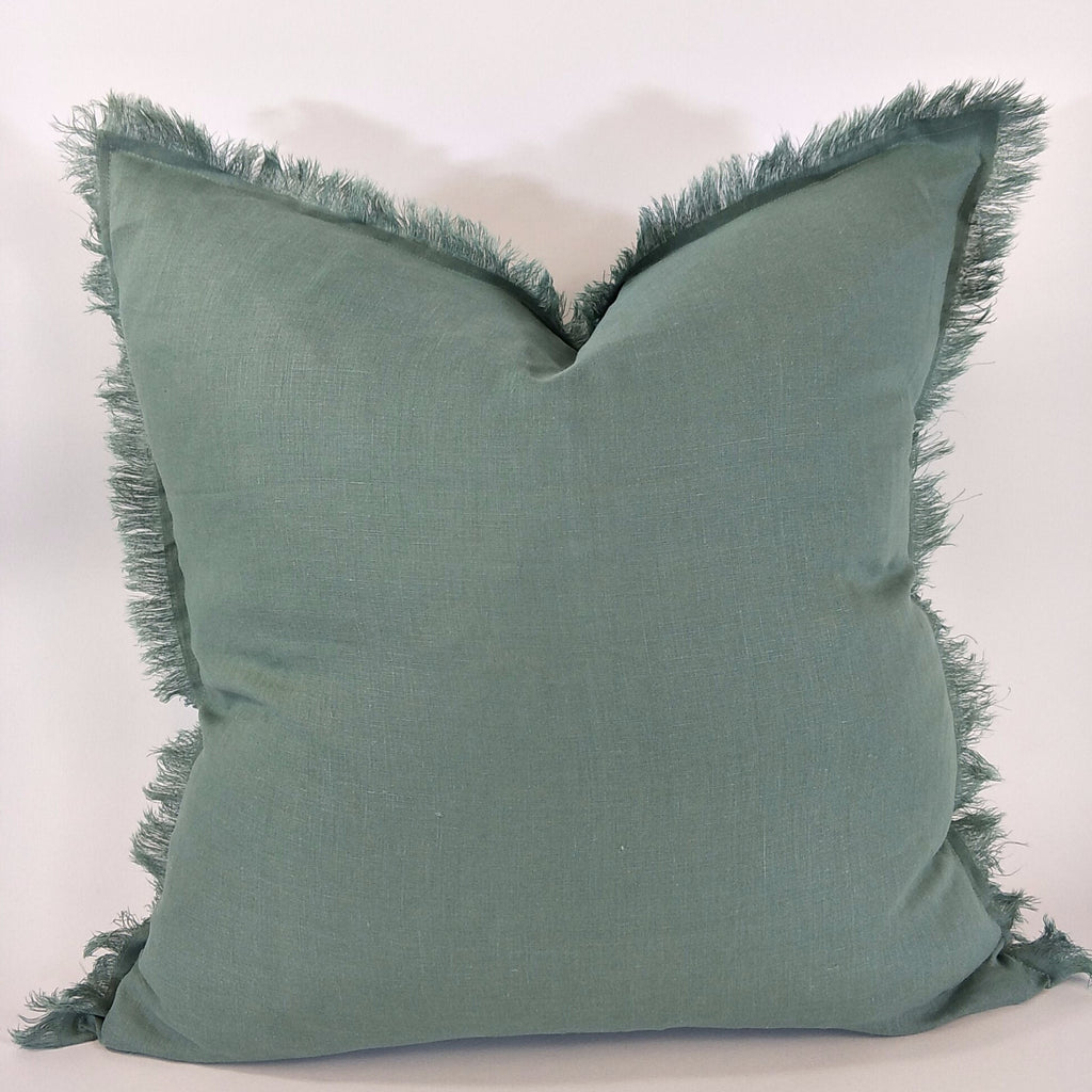 Hazelhurst 100% Pure French Linen Fringed Edge Cushion Square Feather Filled 50cm 0or 60cm-Sage