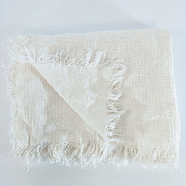 Versailles French Linen Heavy Weight Pure Linen Throw Fringe- Egg Shell White