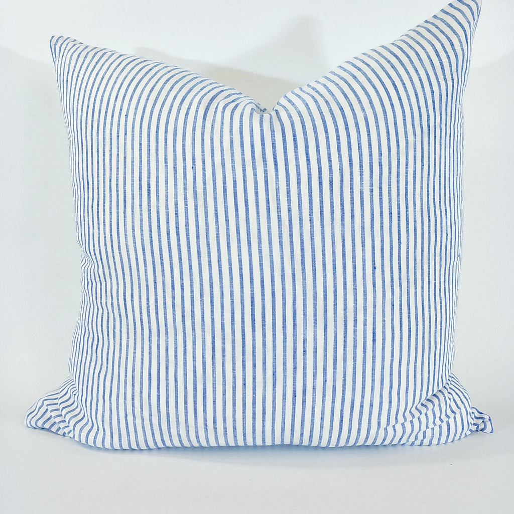 Atlantic Ocean 100% Pure French Linen Yarn Dyed Cushion Feather Filled 50cm & 60cm Square-Blue White Stripe