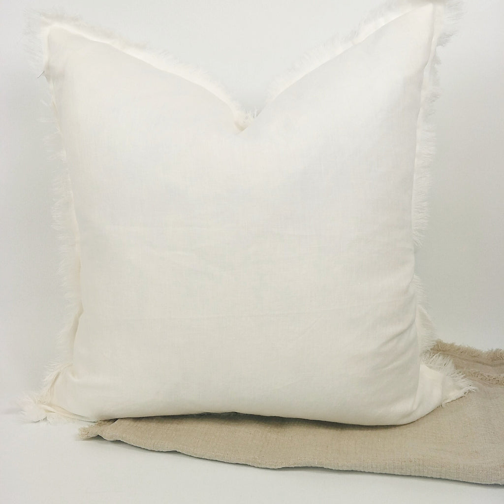 Hazelhurst 100% Pure French Linen Fringed Edge Cushion Square Feather Filled 50cm- Warm White