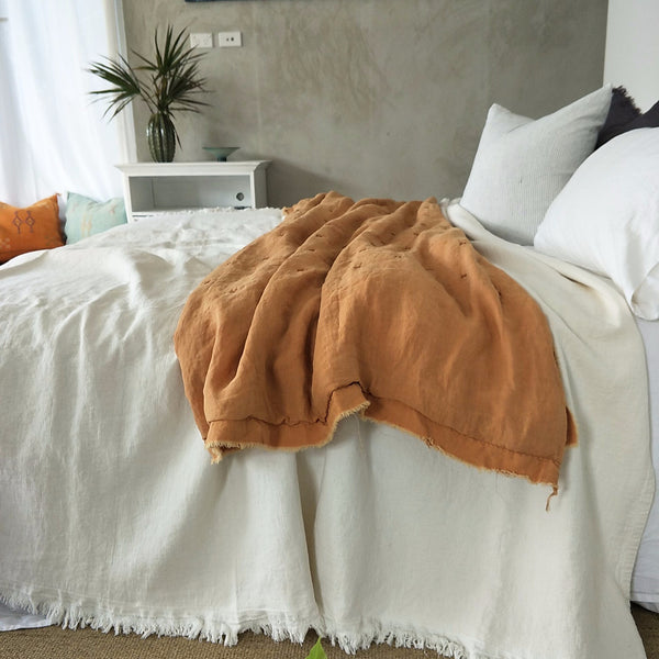 COMING BACK SOON Faith Heavy Weight 100% Pure French Linen Bed Cover with Fringe Edge- Warm White - LAST ONE