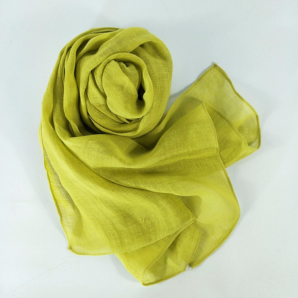 Pure French Linen Hand-woven Long Scarves - Mustard