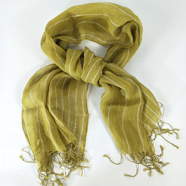 Yarn Dyed French Linen Scarf with Hand Kotted Edge - Ava