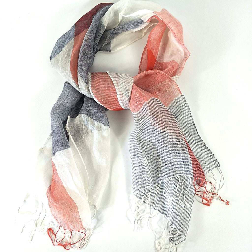Yarn Dyed French Linen Scarf with Hand Kotted Edge - Mia
