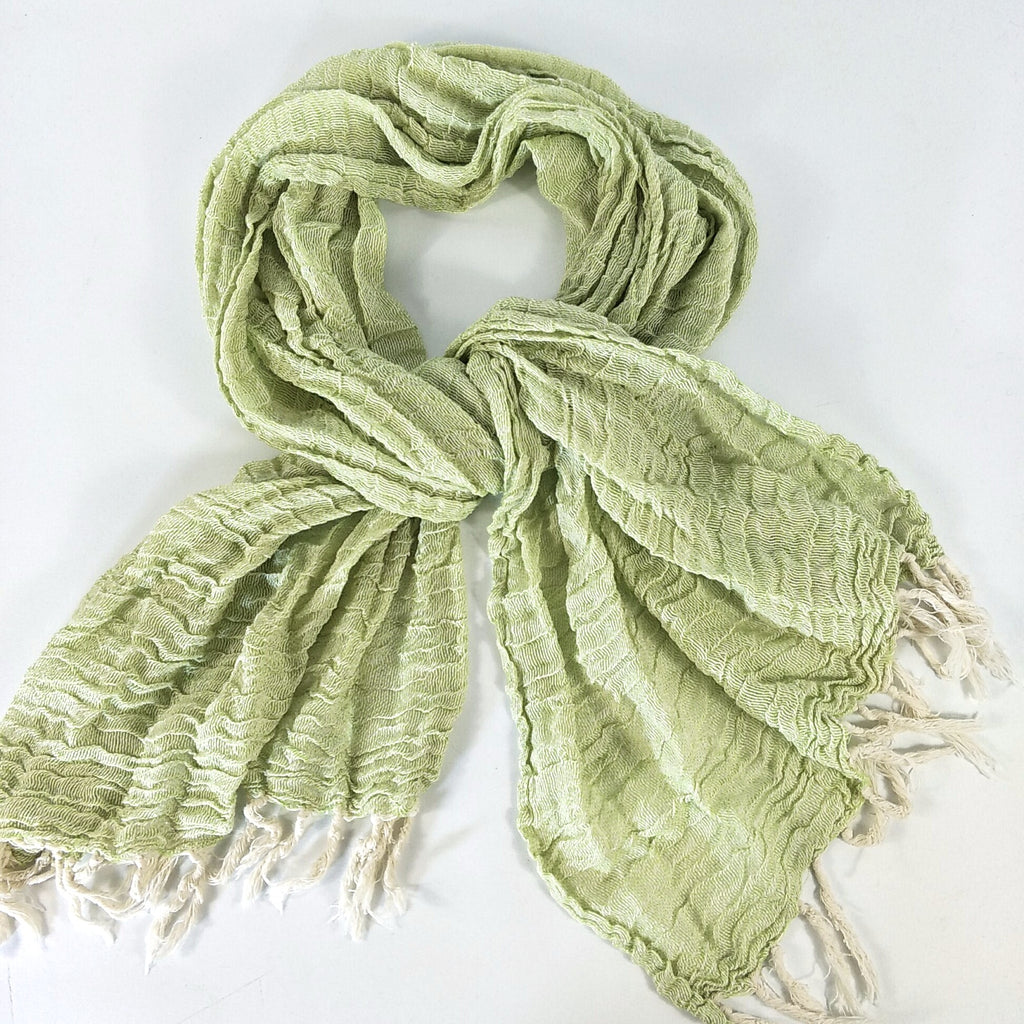 Yarn Dyed French Linen Ripple Effect Scarf with Hand Kotted Edge - Green