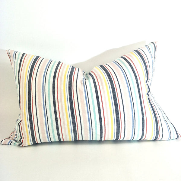 Rhodes Yarn Dyed Pure French Linen Cushion 40cmx60cm - Feather Filled