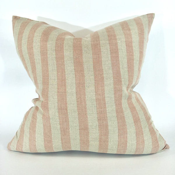 Carss Yarn Dyed Heavy Weight Pure French Linen Cushion 50cmx50cm - Feather Filled - Dusty Pink