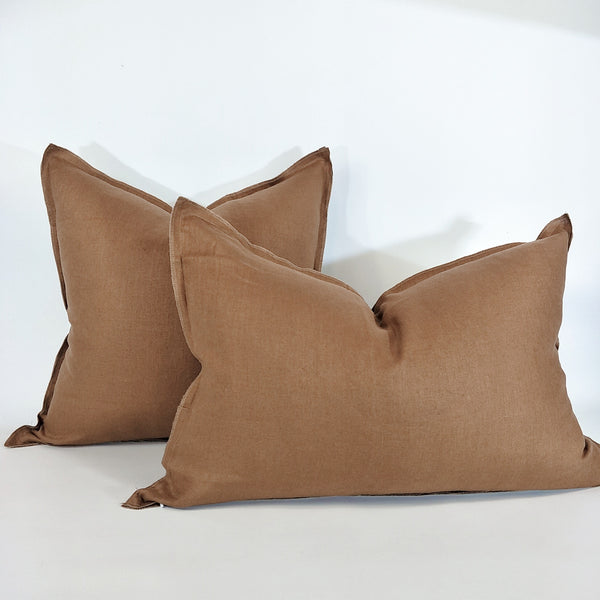 Provence Heavy Weight Pure French Linen Cushion in Two Sizes - Plush Feather Filled - Yellow Ochre